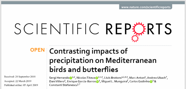 New article: Contrasting impacts of precipitation on Mediterranean birds and butterfies